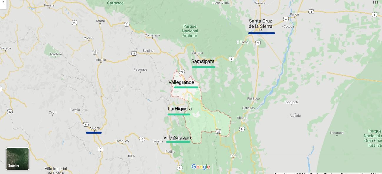 mapa ruta che pablocaminante - Ruta del Che 1/2, Vallegrande