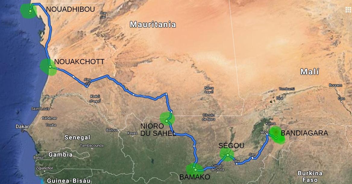 recorrido africa pablocaminante - Mali 2, de Nioro a Ségou